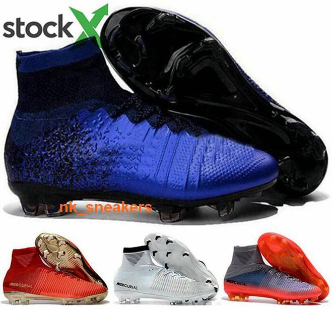Men Mercurial football ronaldo cleats AG Superfly 5 Mens CR7 boots V FG Shoes women soccer cristiano ball eur 46 size us 12 high top black