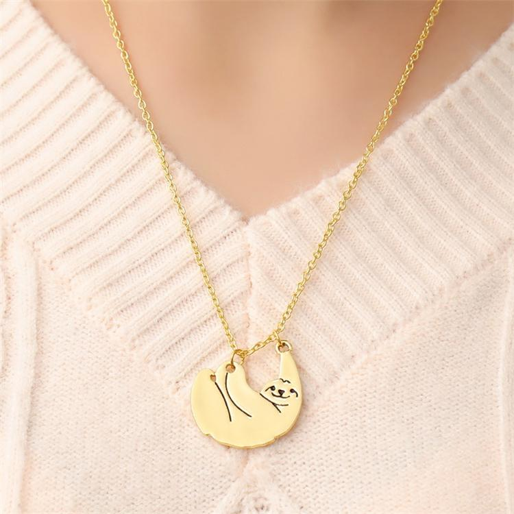 Hot Sale Jewelry Animal Necklaces Gold//Silver Plated Sloth Pendant Alloy Chain