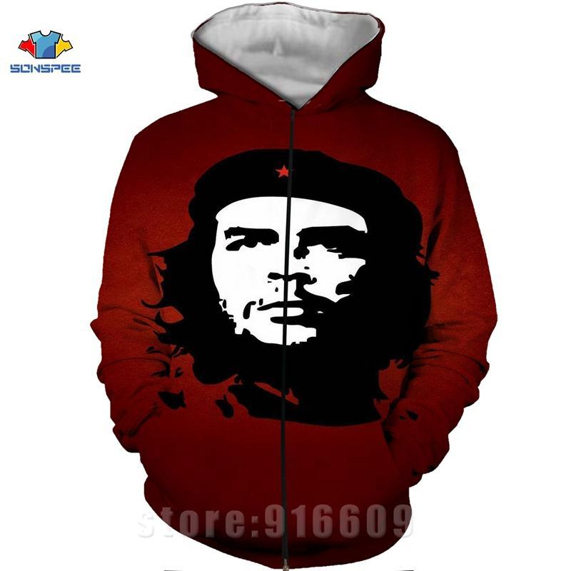 Casaco de Inverno 3D Imprimir Che Guevara Jacket Men Moletons Mulheres Moda Hoodies dos homens de bolso camisola Harajuku Hoodie Pullovers