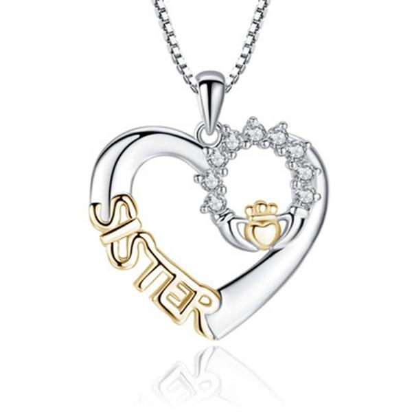 Hot Silver Plated Love Heart Sisters Girlfriends Chain Necklace Creative Love SISTER Micro-Set Pendant Two-hand Necklace