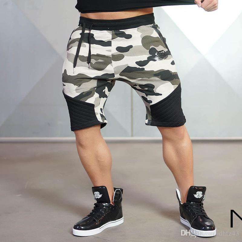 Curto Calças de SJ Camuflagem Homens 2016 Casual Bezerro de comprimento Jogger Mens Shorts Sweatpants Homem da aptidão do exercício do algodão Shorts