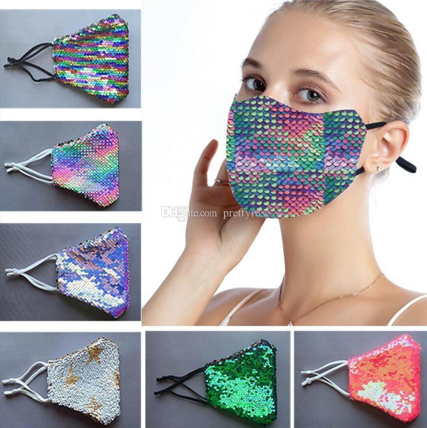 máscara de la máscara de la moda de Bling Bling de la lentejuela de protección a prueba de polvo lavable a prueba de viento reutilización de la mascarilla elástico partido Boca Earloop