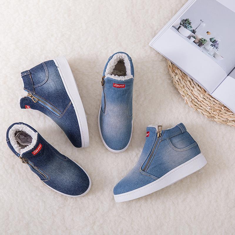Neue Frauen Schuhe Winter Denim-Knöchel-Stiefel Classic Zipper Schneeschuhe warme Plüsch Eindickung Flache Stiefel für Zapatos De Mujer 785