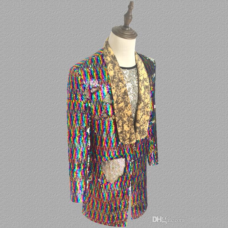 Colorful laser sequins blazer men suits designs jacket mens stage singers clothes dance star style dress punk masculino homme