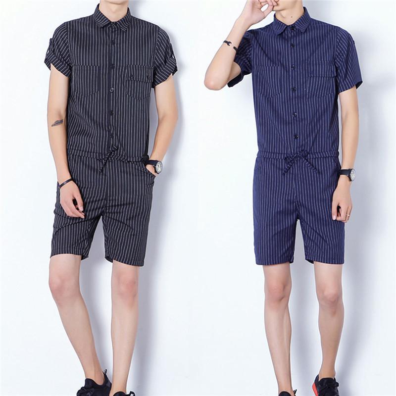 Nuovo caldo degli uomini di vendita manica corta Slim Fit Moda tuta Tuta Tuta Pantaloni Trouses