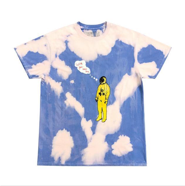 Travis Scott Erkek Tasarımcı tişörtleri Tie Dying Astronot Harf Baskılı Casual Kısa kollu Mürettebat Boyun Kazak Tshirts Moda Çift Tees