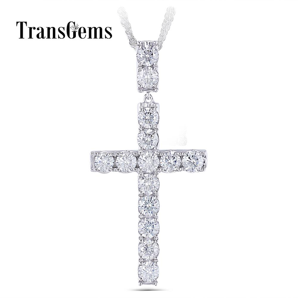 Transgems Platinum Plated Silver Cross Pendant Necklace For Men 3.5ctw 4mm Slight Gray Moissanite Diaond Sterling Silver Y19032201