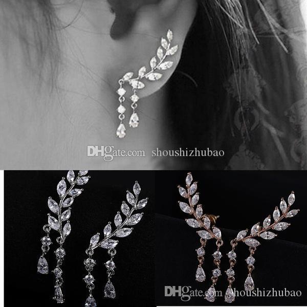 Gold Silver Fashion Earrings Crystal Jewelry Leaves Tassel Women Zircon Ear Stud