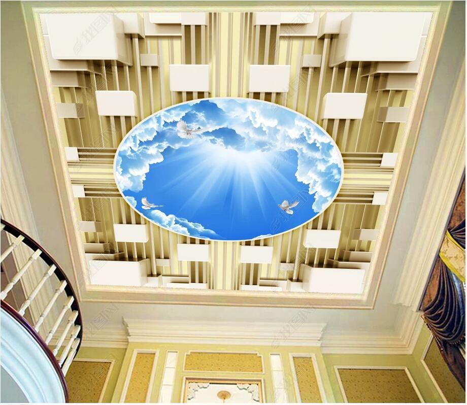céu azul 3d murais teto auto-adesivo papel de parede personalizado mural caixa 3D estéreo e as nuvens brancas zênite mural mural 3d foto wallpaper