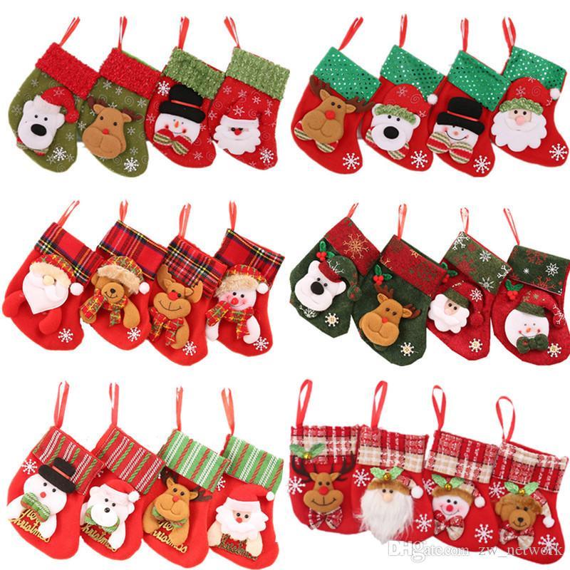 24 estilos Mini Navidad que cuelgan medias Calcetines de Navidad linda del regalo del caramelo bolsa de muñeco de nieve Santa Claus venado soportar árboles de Navidad, décoración