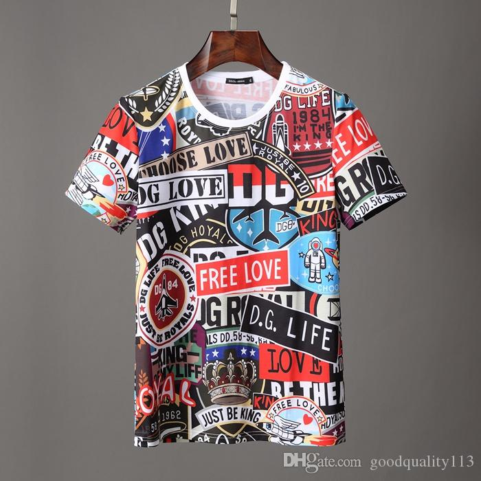 이탈리아 브랜드 스트라이프 여름 남성 짧은 소매 폴로 패션 인쇄 패치 워크 격자 무늬 티셔츠 짧은 만화 슬리브 남성 의류 티셔츠