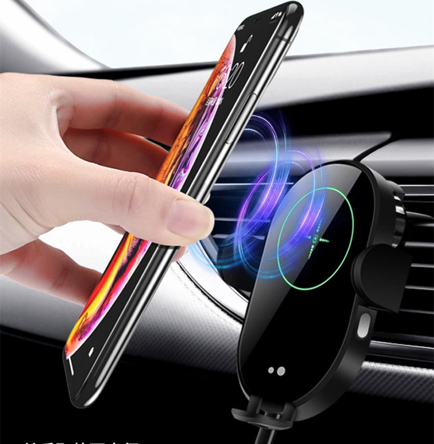 15W Wireless Quick Charge Car Vent Holder Intelligent Infrared Induction Vehicle Wireless Charging Bracket Car Kit for iPhone Samsung phone