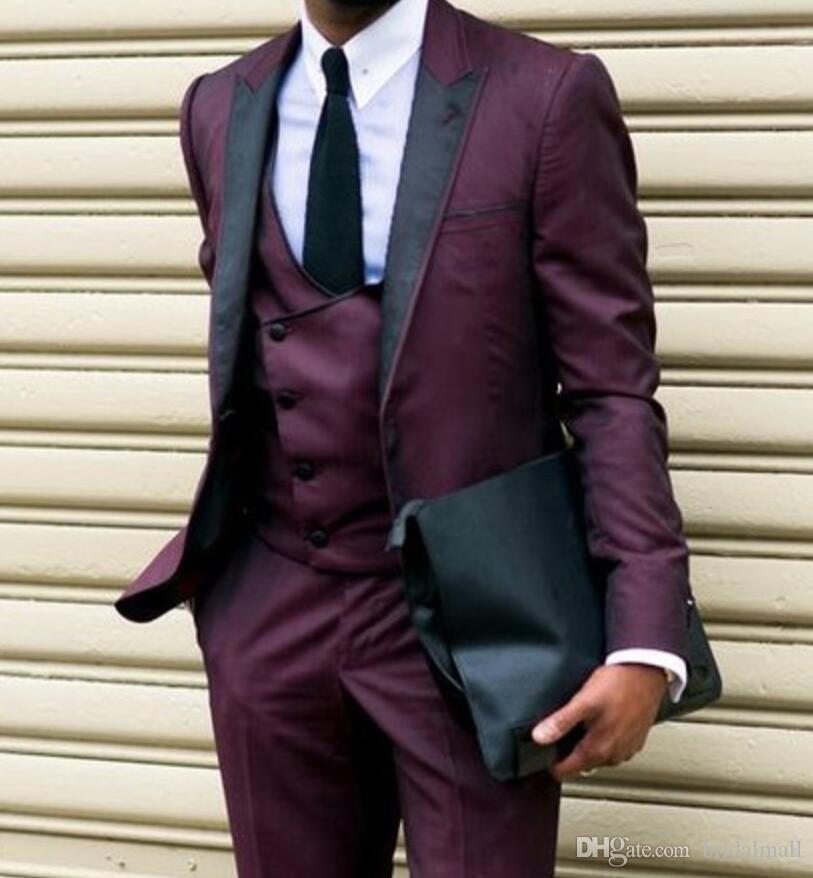 Ultimi Disegni del Cappotto della mutanda Vestito da uomo formale della Borgogna Casual Smoking dello sposo 3 Pezzi Abiti da sposa Blazer 2019 Pantaloni della giacca Vest Tie 3Pcs