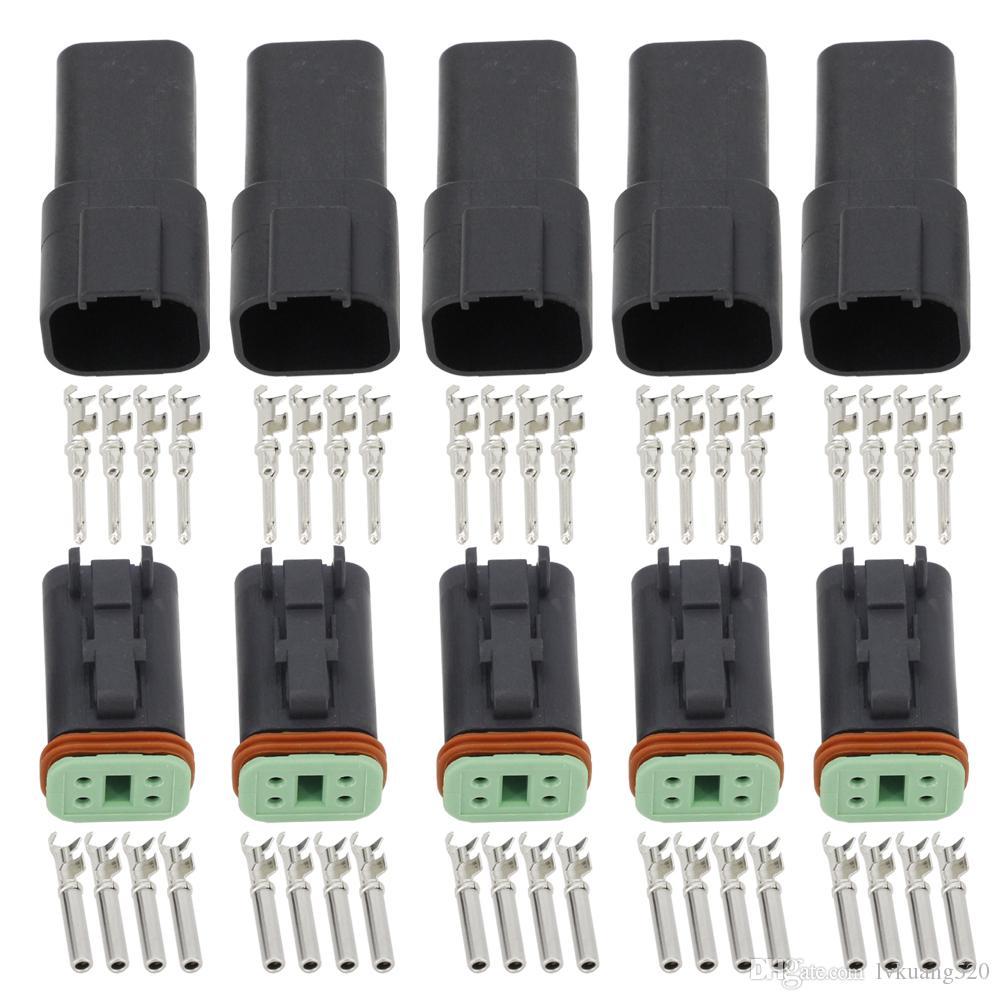 Siyah 5 adet 4 Pim DT04-4P / DT06-4S Otomobil su geçirmez kablo elektrik Deutsch Bağlantı fişi