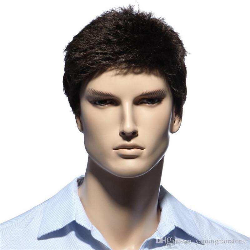 Straight Short Men Wigs Heat Resistant Japanese Fiber Dark Brown Natural Hair Male Synthetic Wig Black Color Men Toupee