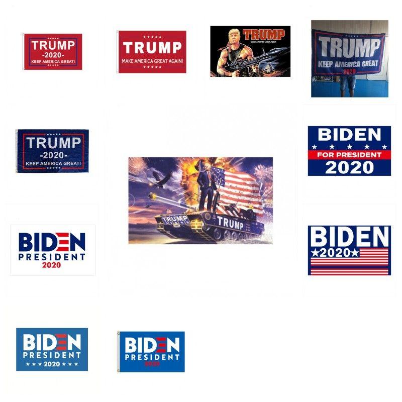 ABD Trump 2020 Banner Bayrak Çift Baskılı Biden Seçim Bayrakları Amerika Büyük Yine Afişler İçin Başkanı USA 90 * 150cm 17tk Zz tutun Taraflı