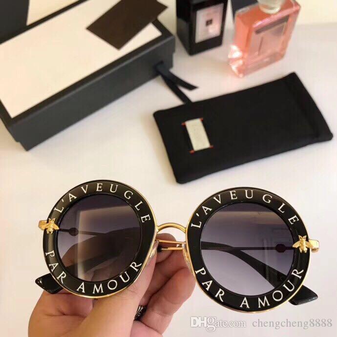 2020 Moda 0113 Güneş Çerçeveler tasarımcı Kadınlar Siyah Güneş Metal Shield Altın Çerçeve Güneş Siyah Gözlükler Yeni stil zekâ