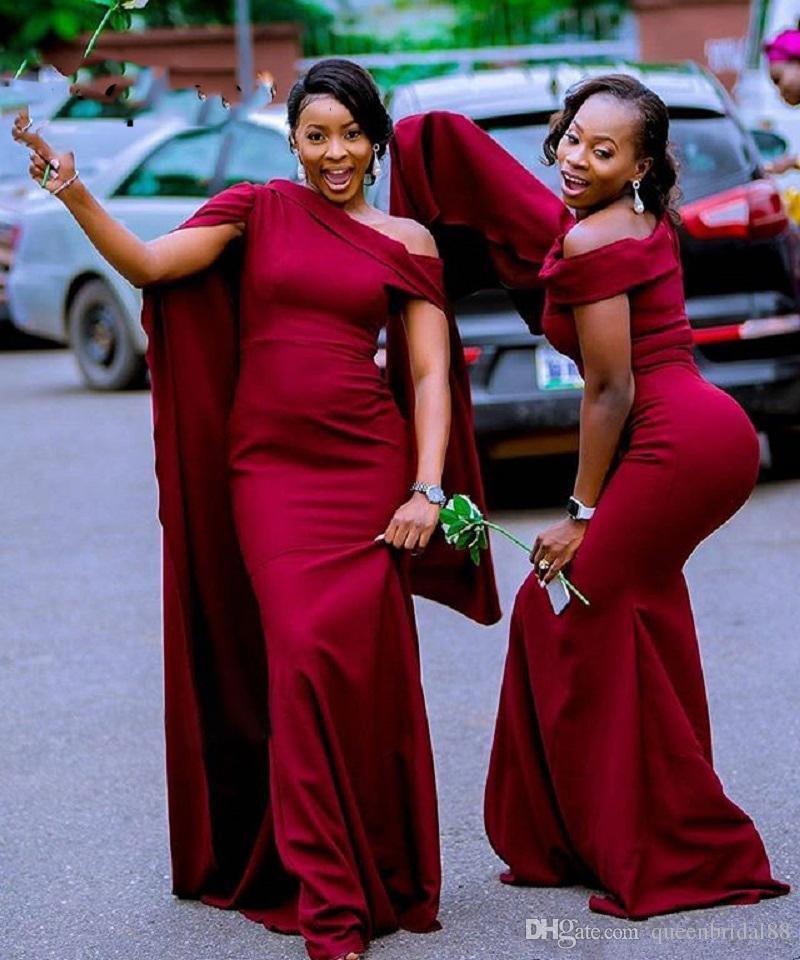 Neue 2019 Afrikanische Brautjungfernkleider mit Flatter Schulterfrei Prom Kleider Reißverschluss Zurück Meerjungfrau Abend Party Kleider