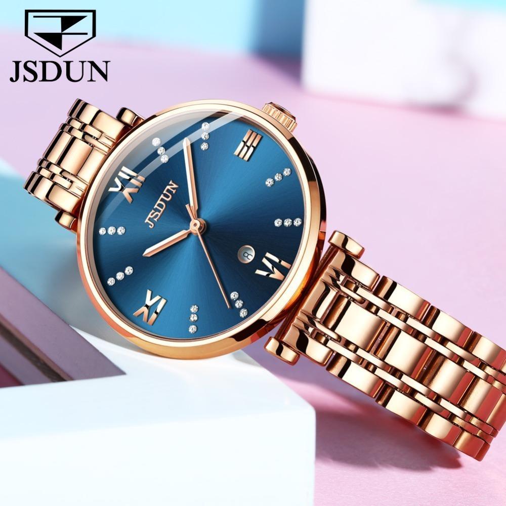 Acero mujeres del reloj automático Fecha relojes de señoras de oro rosa de cuarzo inoxidable Movimiento Suizo azul Mujer Reloj Femme Montre impermeable