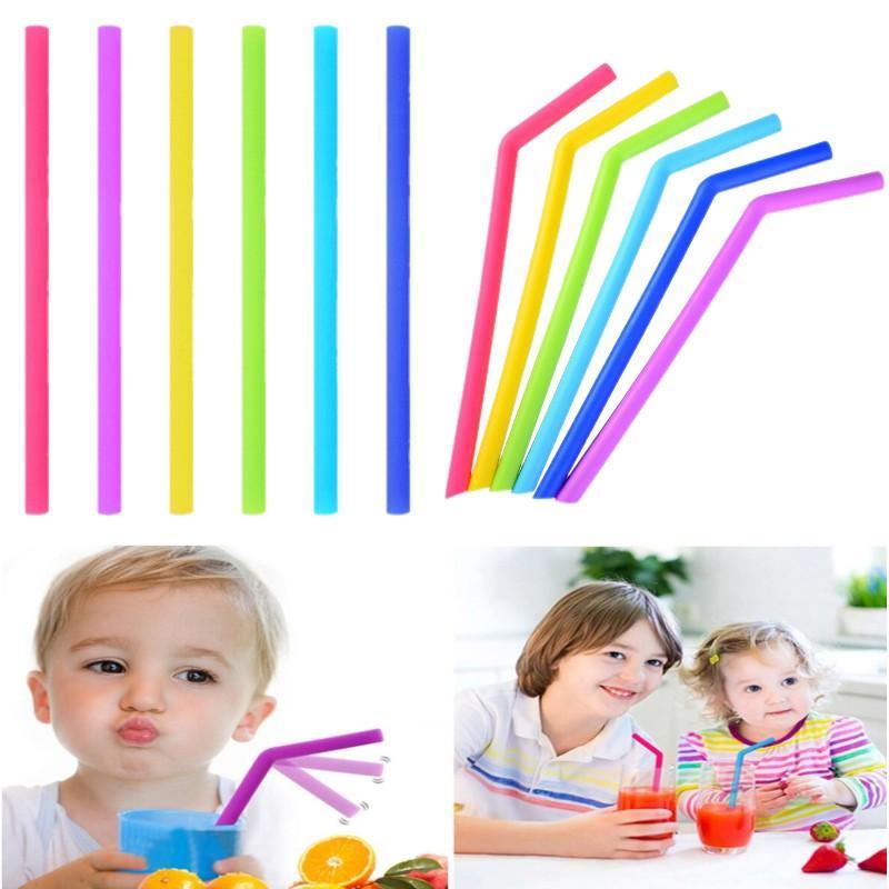 Reusable Silicone bent Straight Tube Silicone Straws Juice Milk Tea Straws Environmentally Friendly Straws Easy Toclean Drinkware