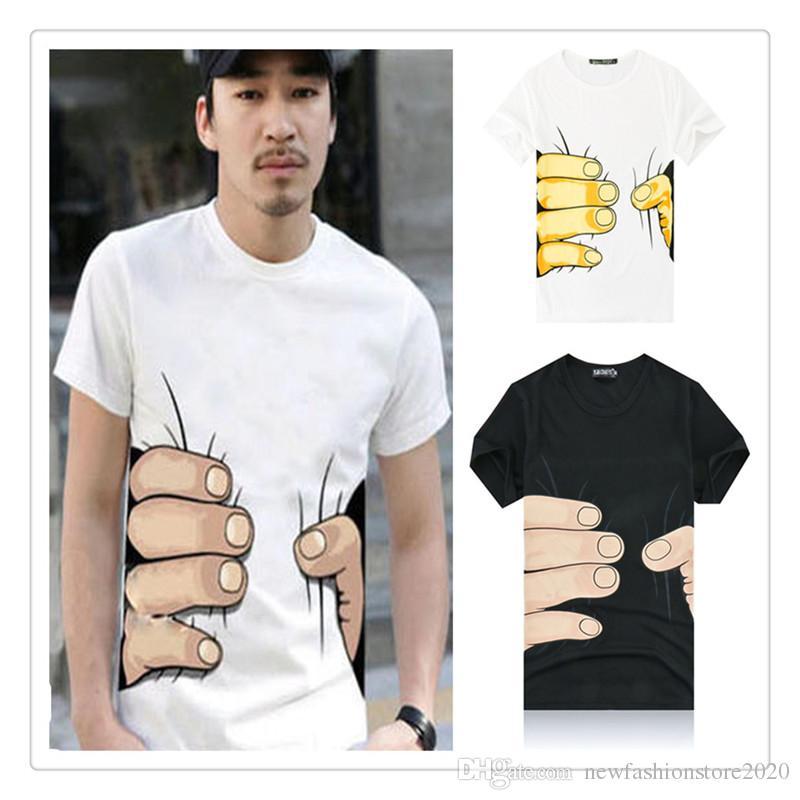 Funny Tee Shirt Men Tops O-neck Short Sleeve Men Tees 3D Big Hand Printed Cotton T Shirt