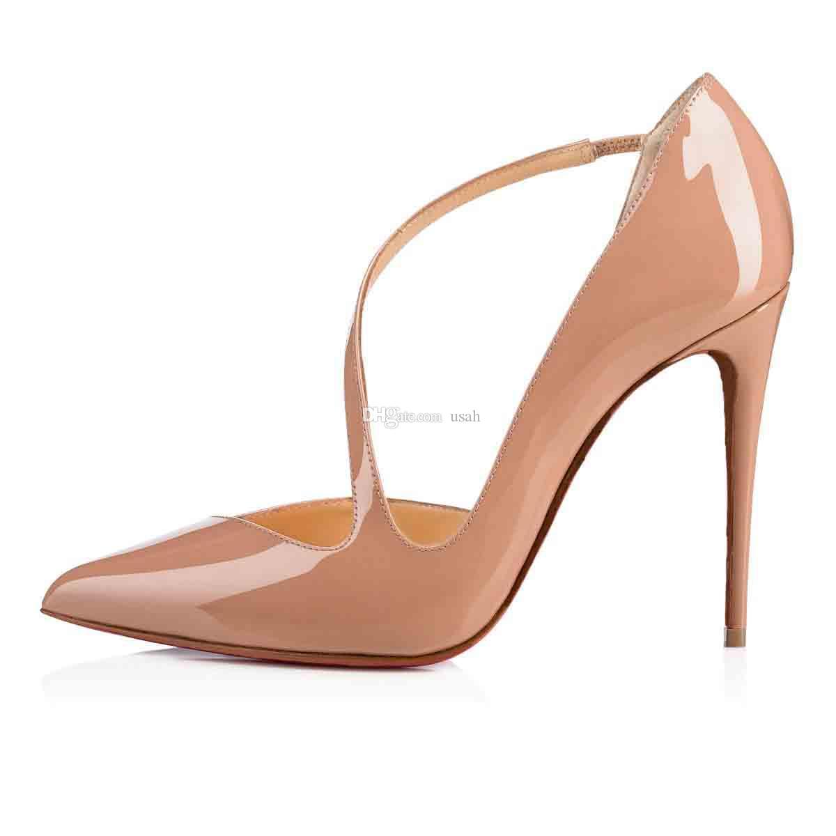Dress-Party-Marry Senhora Salto Alto inferior Red Pumps Shoes salto stiletto bombas salto Preto Nude de couro com 100 milímetros T-Correia de atacado
