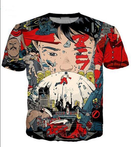 Neueste Art und Weise der Männer / Womans Akira Sommer-Art-T-Shirts 3D-lässig T-Shirt Tops Print Plus Size BB0116