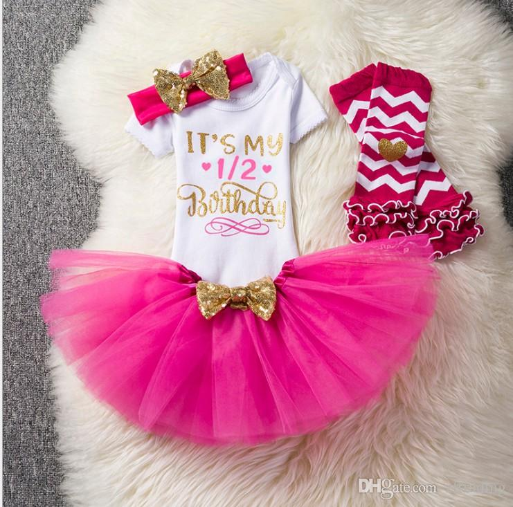 Baby girl birthday outfits rompers+tutus skirts+sequin headband+Legging sock 4pcs set infant party dress up 1st 2nd year toddler gifts