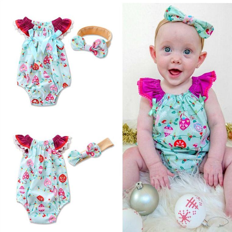 INS Verão roupa do bebê Define Meninas Floral bebê Impresso Romper Jumpsuit Macacões Bow Carneiras recém-nascidos de algodão crianças Onesies Atacado 084