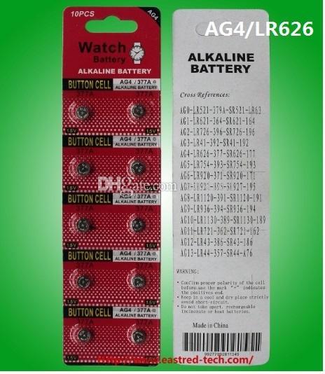 100% fresco Mercurio 400cards libres / porción GA4 LR626 SR626 377 377A reloj de la célula del botón 10pcs de la batería del reloj de la moneda de la batería por tarjeta