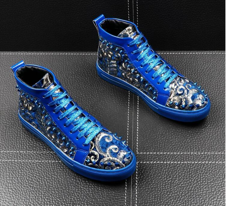 Италия Новый Mens дизайнер национальности заклепку блестка вскользь Квартиры высокие вершины обувь Человек панк-рок досуг ccasins Мокасины обувь EUR38-43 S01