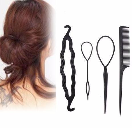 4pcs Twist Styling Hair Clip Stick Bun Meatball Head Maker Comb Braiding Accessories For Women Lady Girls Hair Ornaments