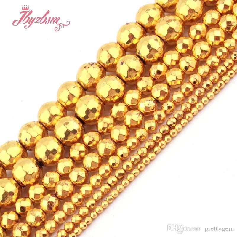 2-10 ملليمتر الأوجه جولة الخرز الكرة الذهب الهيماتيت الحجر الطبيعي الخرز ل diy قلادة سوار مجوهرات جعل 15 شحن مجاني