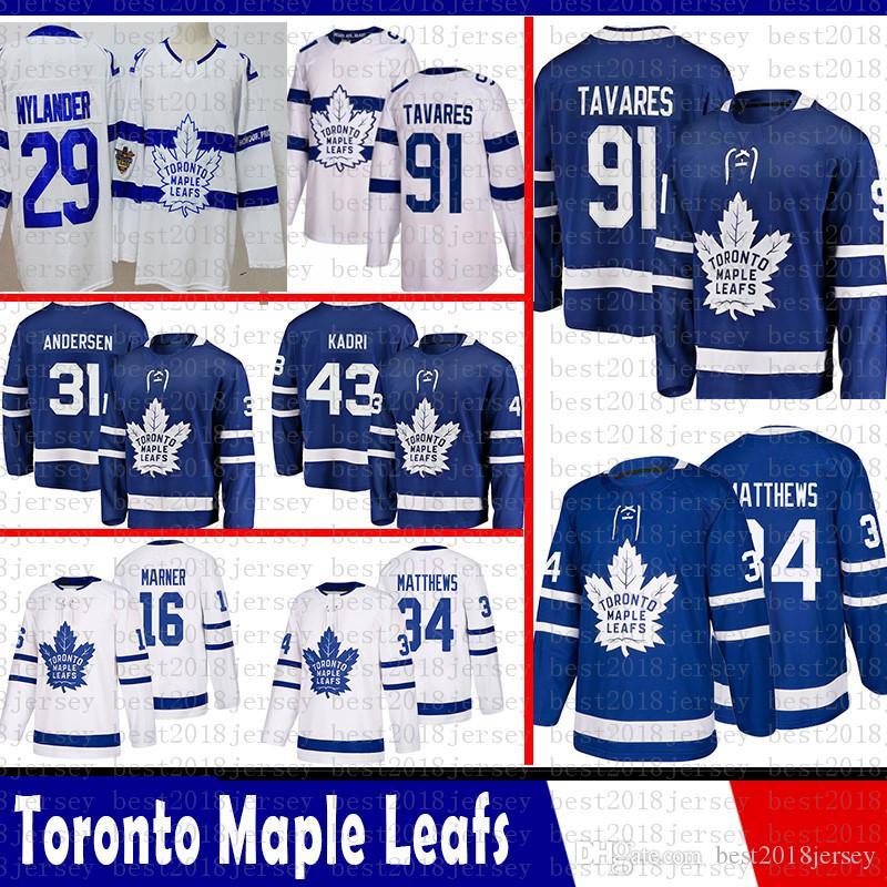 Toronto Maple Leafs Mens John Tavares Hóquei Jerseys 16 Mitch Marner 34 Auston Matthews 43 Nazem Kadri 31 Frederik Andersen William Nylander