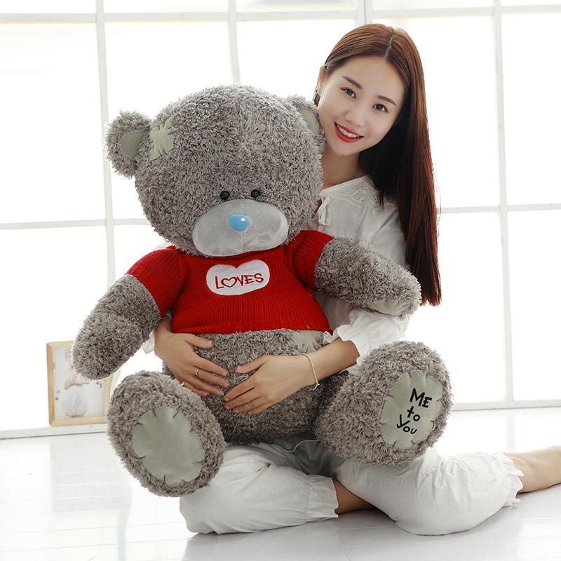 1pc Teddy Bear Plush Toys Sweater Bear 40/60cm Soft Stuffed Animals Cute Patch Bear Plush Dolls For Baby Kids Christmas Gifts MX190723