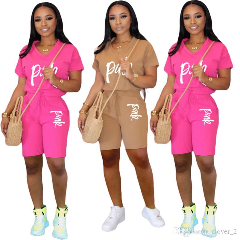 Womens tracksuits short sleeve shorts outfits 2 piece set sportswear jogging sport suit sweatshirt summer tights sport suit klw3440
