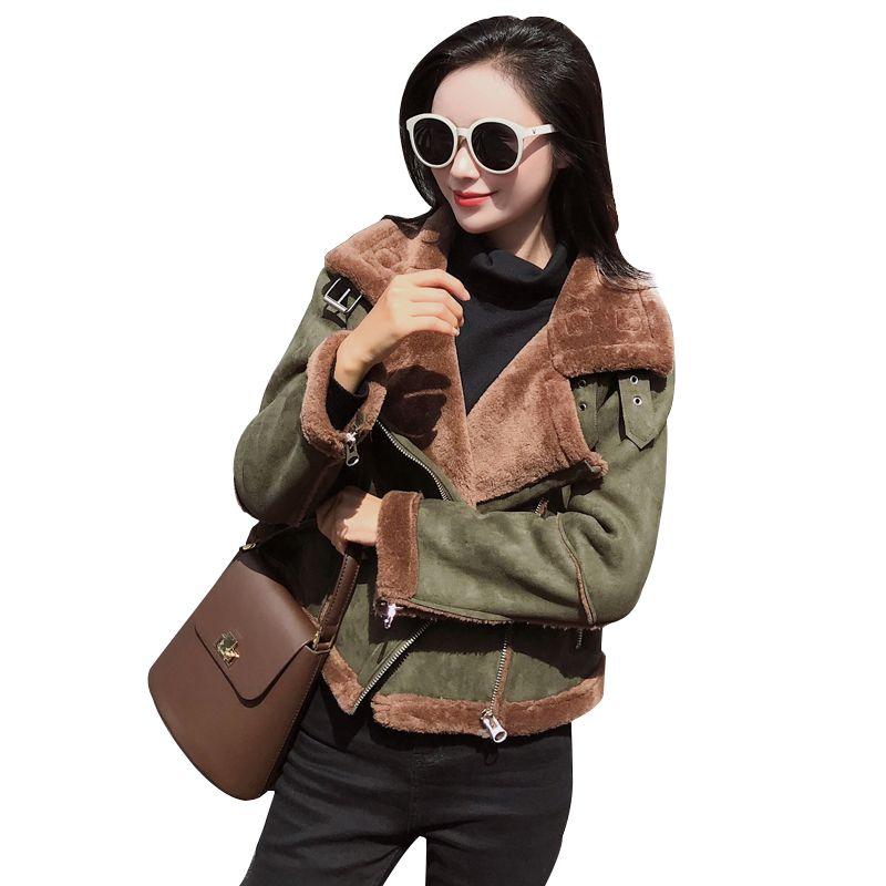 2018 Winter New Shearling Sheepskin Faux Leather Jacket Women Korean Long Sleeve Thick Lambs Wool Suede Motorcycle Cropped Coat
