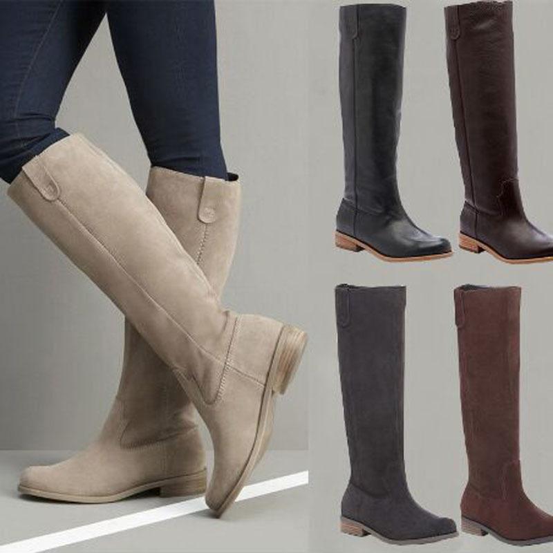 Over-the-genou haut plat Femmes en cuir PU Bottes d'hiver Bottes en daim mat Glissement Zapatos De Mujer Riding solide Y200114