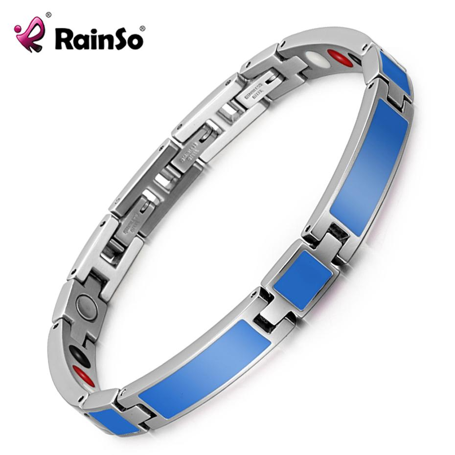 Rainso 2019 New Fashion Epoxy Jewelry Female Magnetic Therapy Bracelet & Bangle Germanium Bio Energy Wristband For Arthritis J190707