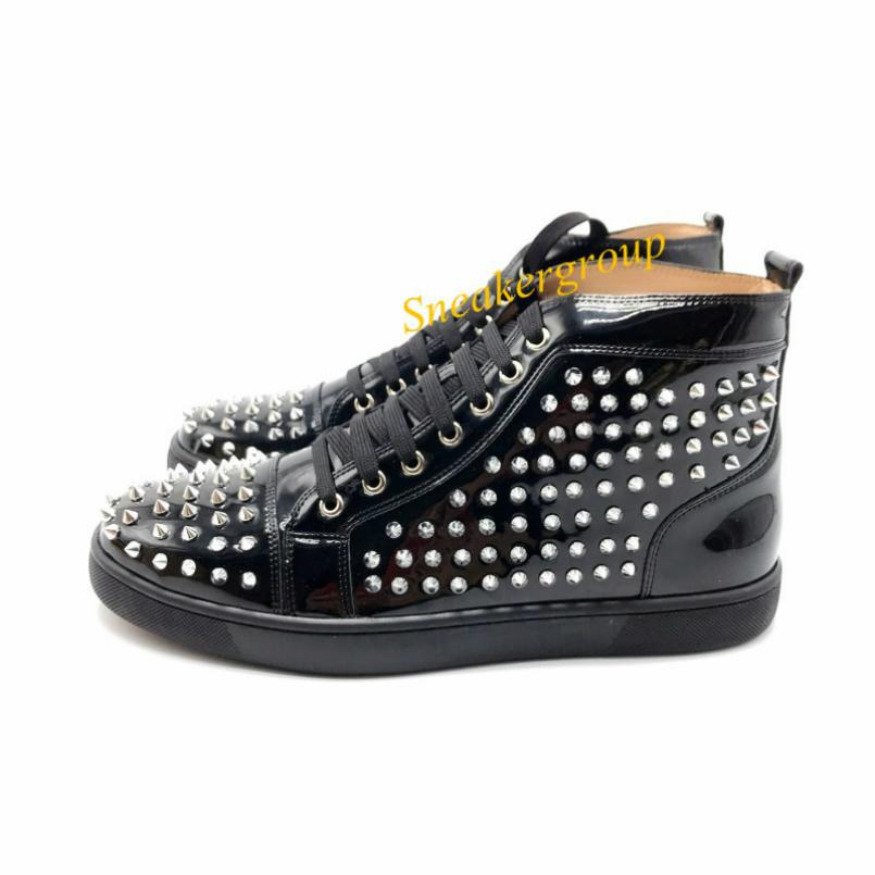 Nuovi 2019 Top Uomini Donne inferiore rossa del partito con brillantini Genuine Leather Studded pattini inferiori Spikes appartamenti Moda Scarpe casual 25