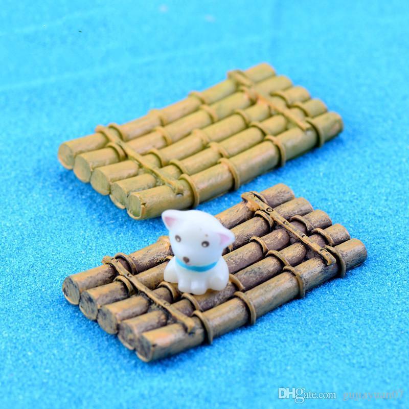 XBJ173 Mini de fournitures de décoration de bateaux radeau de bambou micro paysage déco point de riz artisanat déco jardin Creative