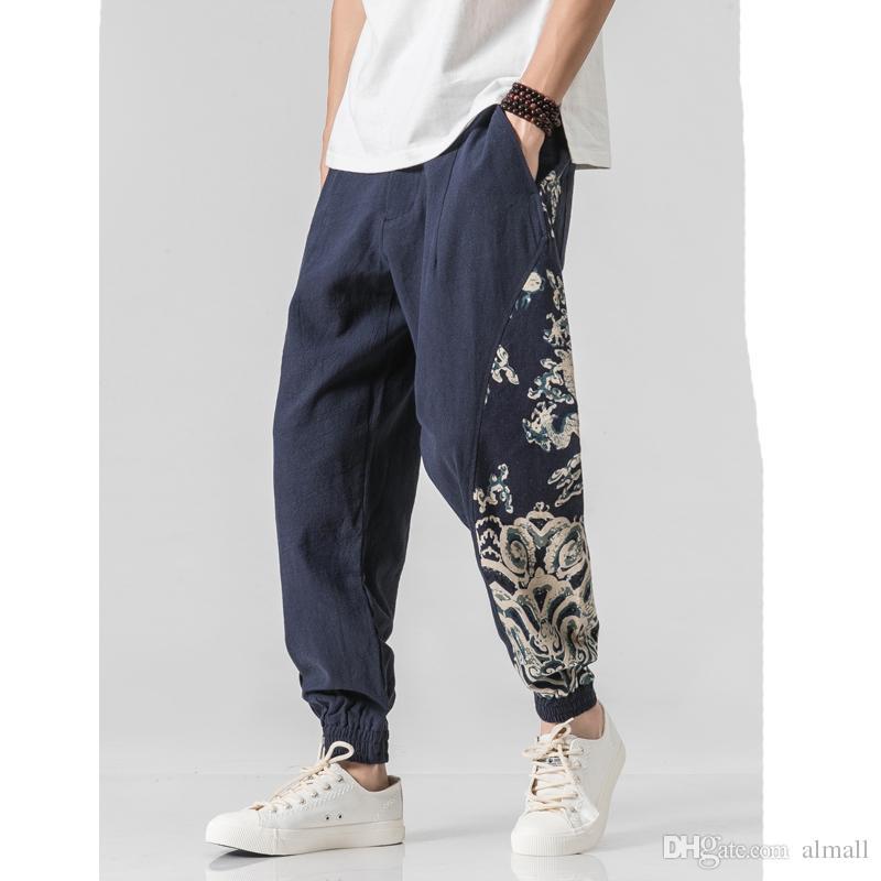 Calças de impressão Homens Algodão E Forrado Sólidos Corredores Calças Masculinas Harajuku Modas Coreano Calças de Alta Qualidade