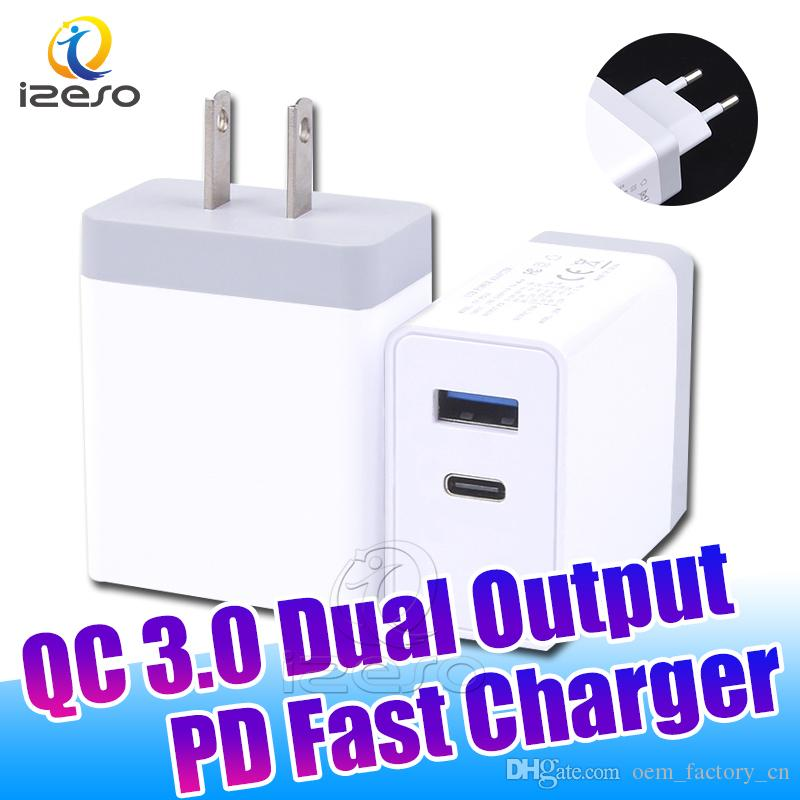 QC3.0 Dual Output Fast Charger 3A PD Adapter Quick Charging US EU Plug for iPhone 11 Pro MAX with Retail Packaging izeso