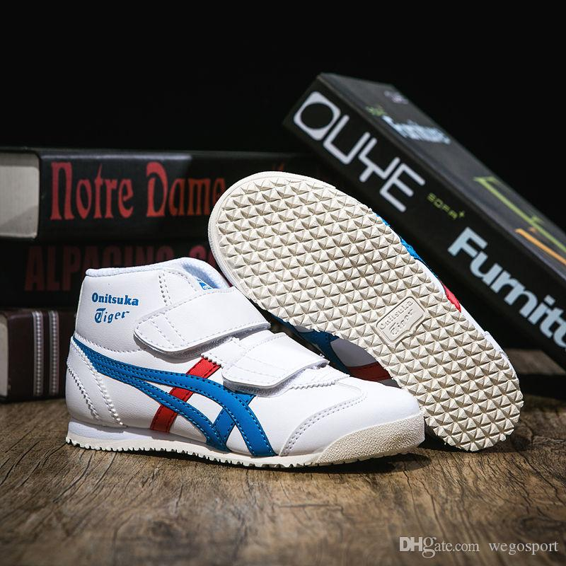 check out 68824 0d59f 2019 Asics Childrens Shoes Onitsuka Tiger White Blue Red Designer Shoes  Boys Girls Comfortable Athletic Shoes Size 27 35 From Wegosport, $77.15 |  ...