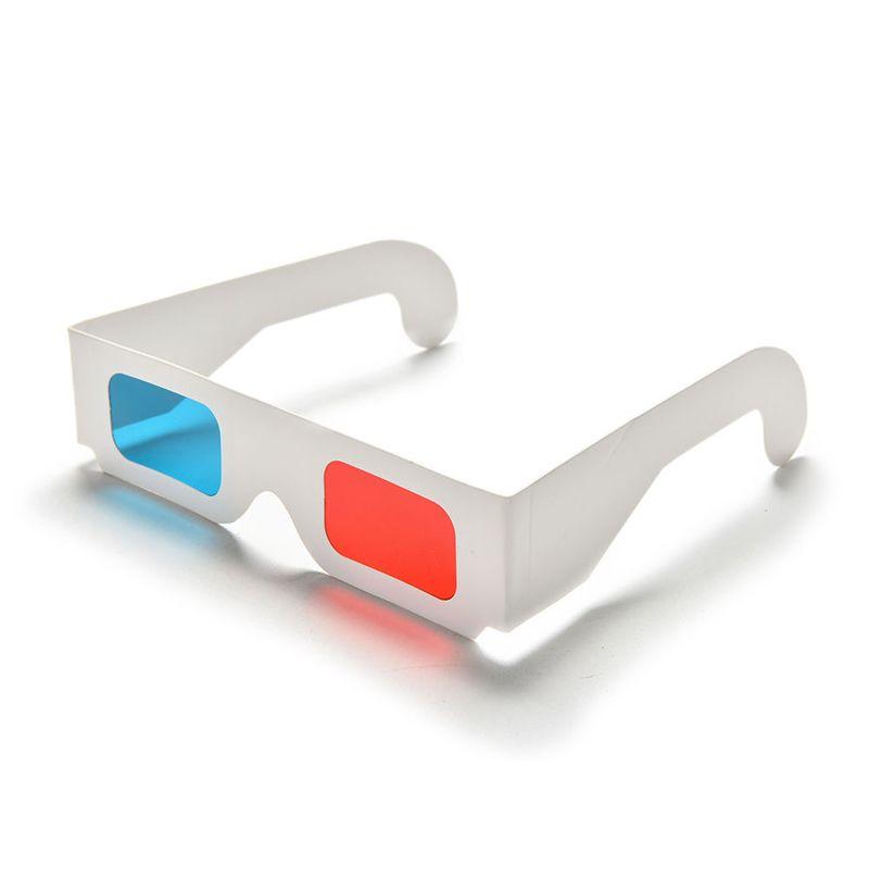 Novo 3D Óculos Vermelho / Blue Cyan Papel Cartão 3-D Anaglyph Óculos Branco Papel Goof Vista Popular