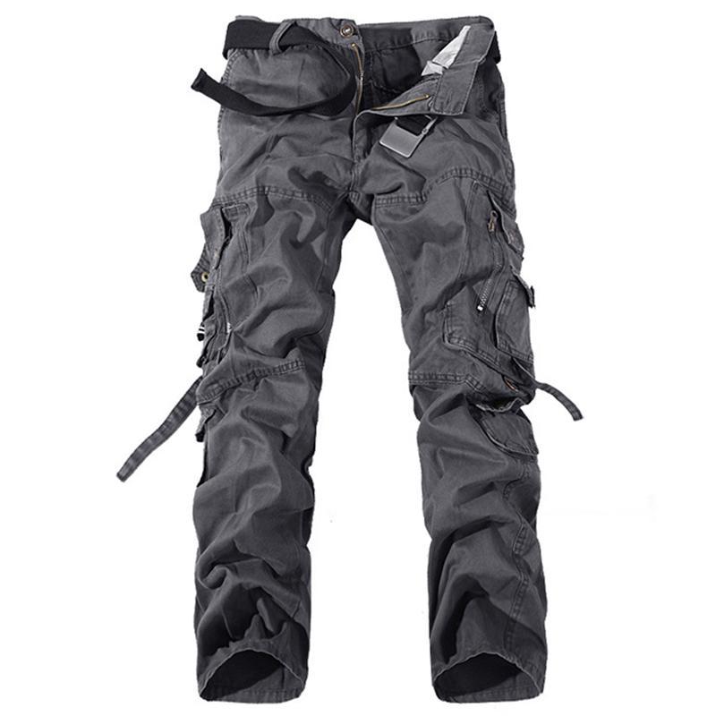 2019 pantaloni casuali del carico degli uomini di esercito verde grandi tasche in cotone pantaloni larghi militari Tute pantaloni lunghi Maschio 28-42 più di formato