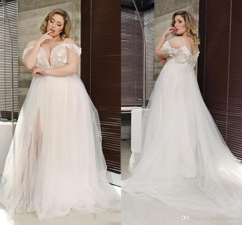 Dreaming 3D Flowers Applique Plus Size Wedding Dress Cold Shoulder Lace  Backless Tulle Country Western Wedding Dress Beach Bridal Gowns Tool  Wedding ...