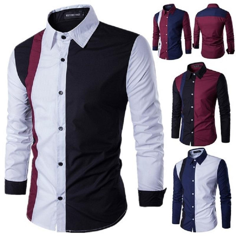 Zogaa 2020 Mode Automne Patchwork Hommes Chemises manches longues turn-down Robe à col Chemises Sexy Slim Fit Camisas Hombre