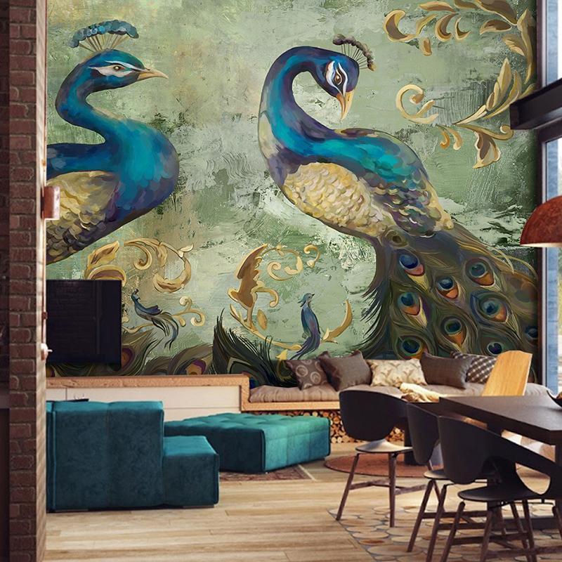 Dropship Пользовательские 3D Mural обои Ретро стиль Павлин фона Стена украшения большие стены Картина гостиной диван Спальня обои