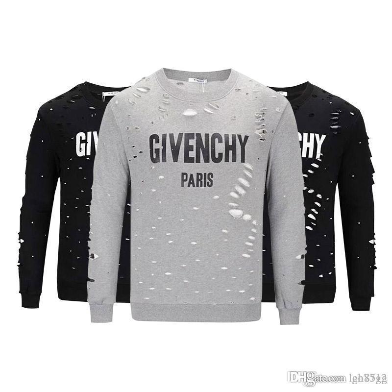 19ss design de marca verão street wear europa paris fã feito moda homens de alta qualidade buraco quebrado algodão camiseta casual mulheres tee giv t-shirt